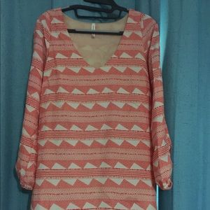 Coral chevron Aztec pattern open sleeve dress